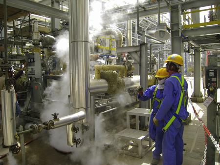석유 및 가스 공장의 가스 누출
