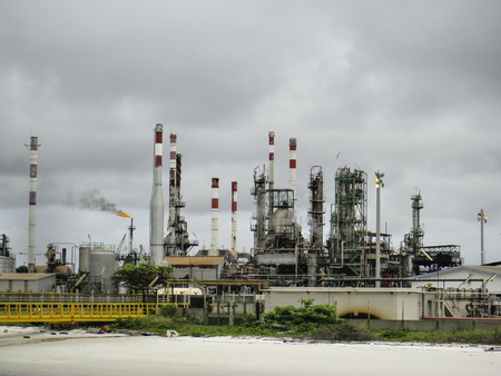 Pollution by old oil & gas refinery plant Stock Photo