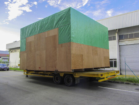 box size: Big size cargo box packing on the transport cart trolley