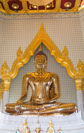 close up of Golden Buddha in temple wat traimit  in Thailand