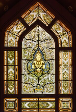Beautiful stained glass window in temple Stock Photo