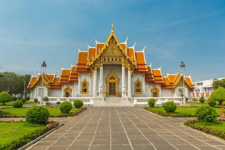 The Marble Temple or Wat Benchamabophit temple, Bangkok Thailand Stock Photo