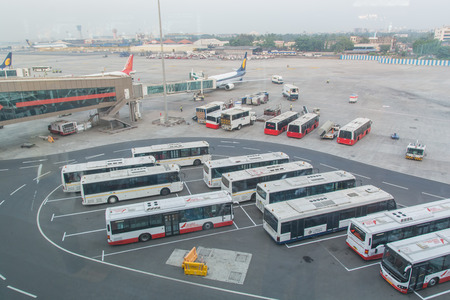 Fleet of passenger buses at the airport