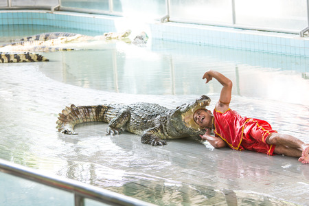 crocodile show at Samutprakan Crocodile Farm