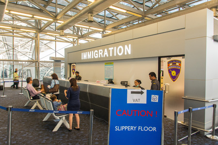 airport security: Immigration Customs check counter at airport Editorial