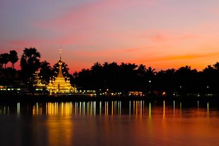wat thai at night in maehongson, thailand