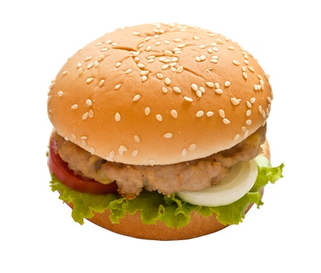 hamburger on white isolated photo
