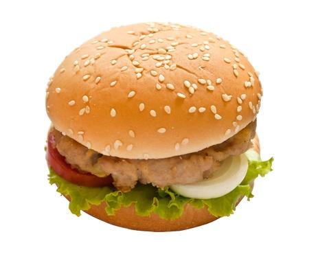 hamburger on white isolated