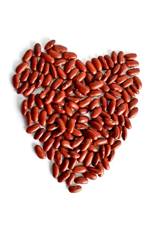 legumes: heart of red kidney bean on white isolated