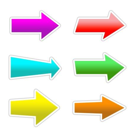 interface menu tool: 6 colori simbolo tasti freccia con ombra su bianco isolato