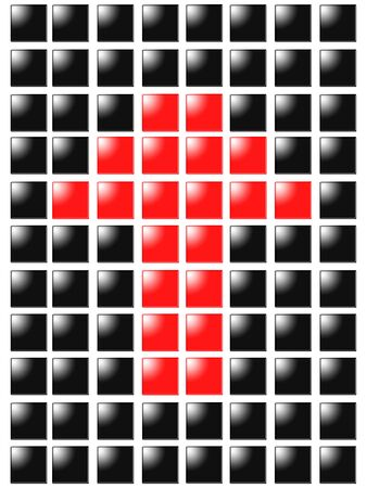 Symbol arrow up from red square box photo