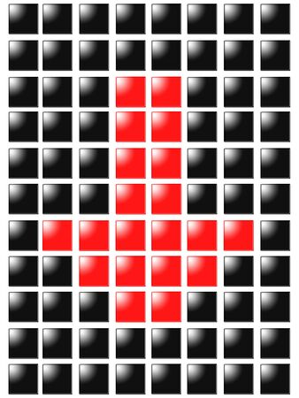 Symbol arrow down from red square box photo