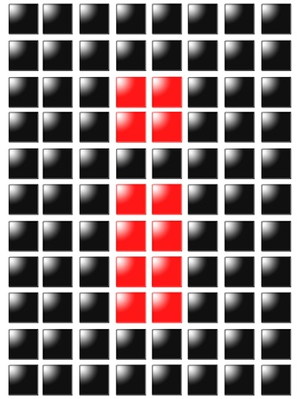 Symbol exclamation point from red square box photo