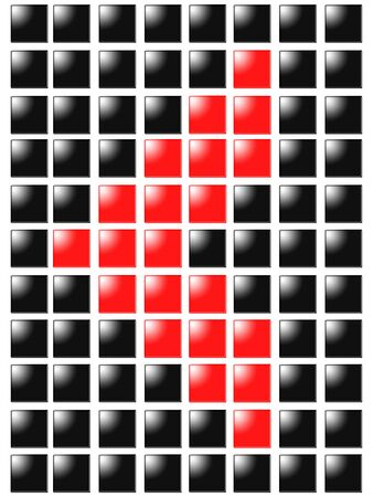Symbol arrow left from red square box photo