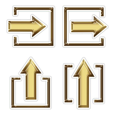 interface menu tool: 4 golden  arrow in square Stock Photo
