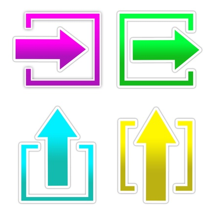 satined: 4 colourful  arrow in square