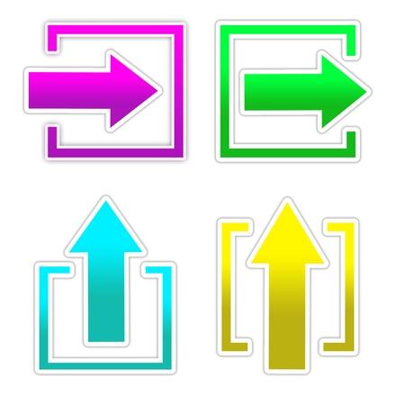 interface menu tool: 4 freccia colorata in piazza Archivio Fotografico