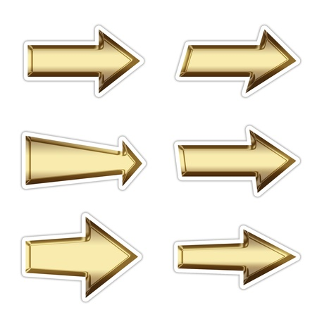 interface menu tool: 6 golden arrow symbol buttons with shadow on white isolated Stock Photo