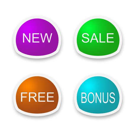 set of labels with new,sale, free, bonus Stock Photo - 10945727