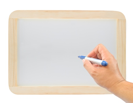 hand with a pen on  wood whiteboard