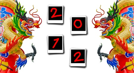 Chinese style dragon statue with happy new year 2012 frame Stock Photo - 10999054