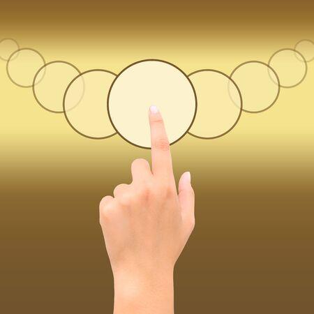 satined: hand point golden square symbol letgo Stock Photo