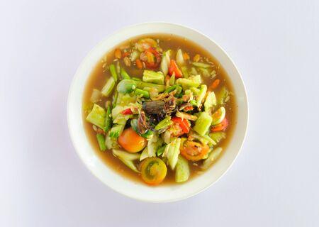 Cucumber salad on white isolate photo
