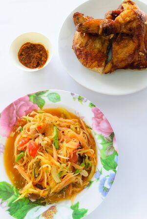 papaya salad and chicken gill photo