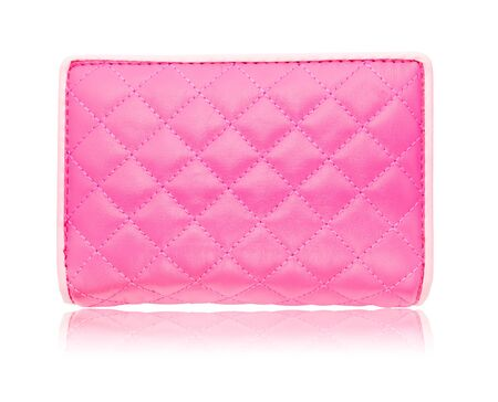 pink leather bag on white isolated Stock Photo