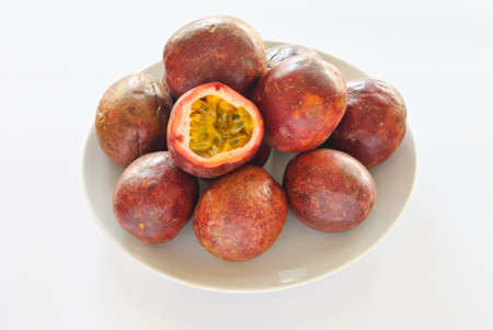 passion fruit on white background photo