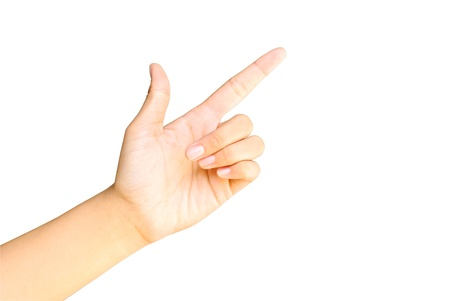 dictatorial: Hand pointing on white isolate Stock Photo