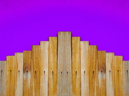 wood step on purple background photo