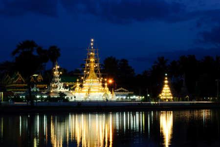 twilight at Jong klang temple, Maehongson, Thailand