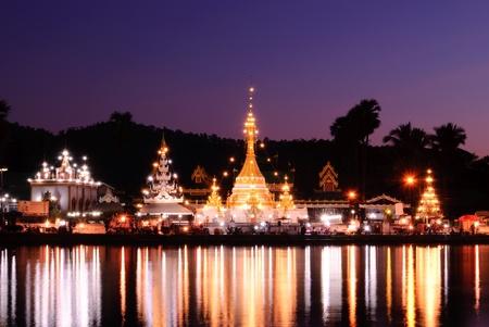 sunset at Jong klang temple, Maehongson, Thailand