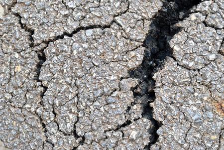 closeup of cracks on asphalt road