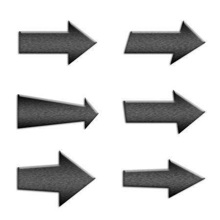 interface menu tool: 6 in metallo simbolo tasti freccia su bianco isolato