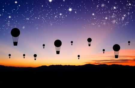silhouettes balloon fly with star photo