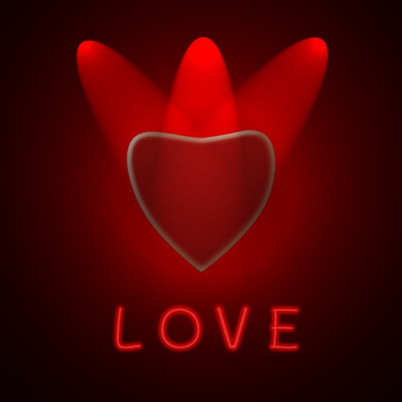 spotlight show red heart with love text Stock Photo - 11964671