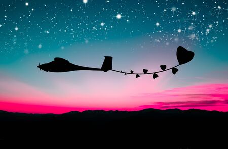 abstract plane fly with star and love photo