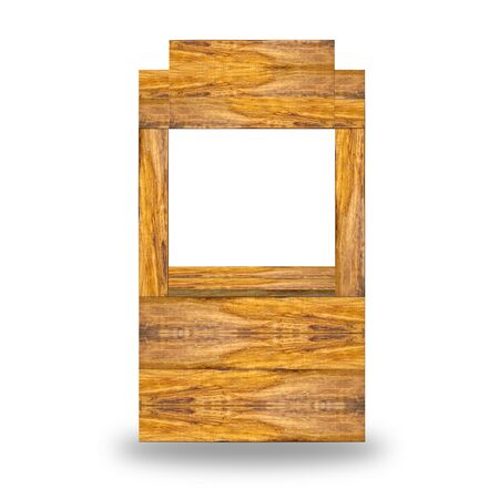 wood rack with banner on white isolated photo