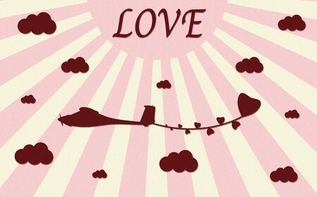 vintage plane paper craft with love Stock Photo - 12003411