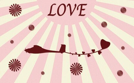 vintage plane paper craft with love Stock Photo - 12003407