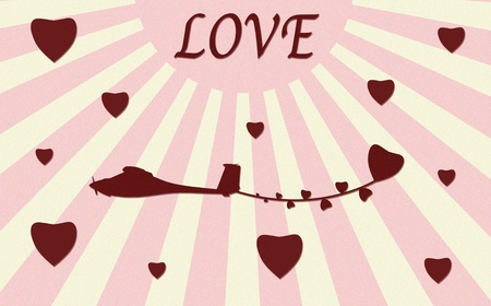 vintage plane paper craft with love Stock Photo - 12003436