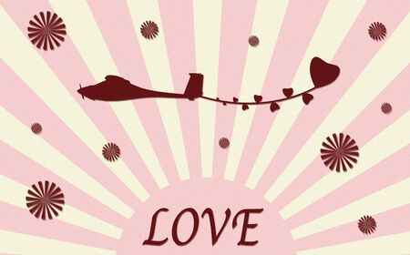 vintage plane paper craft with love Stock Photo - 12003409