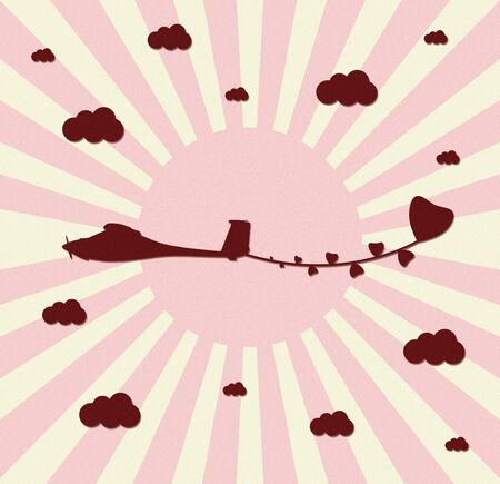 vintage plane paper craft with love Stock Photo - 12053930