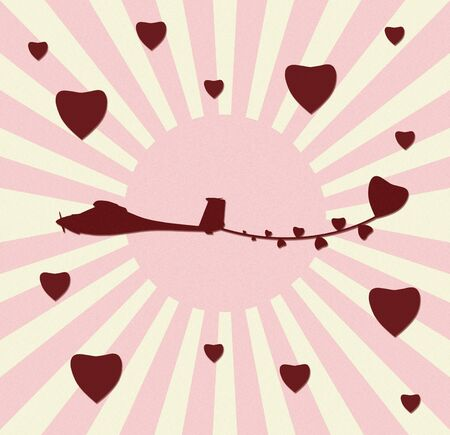 vintage plane paper craft with love Stock Photo - 12053928