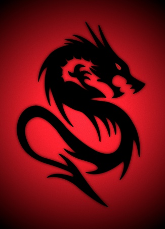 black dragon on red background photo