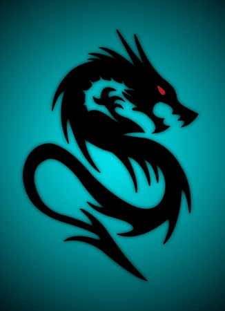 black dragon on red background