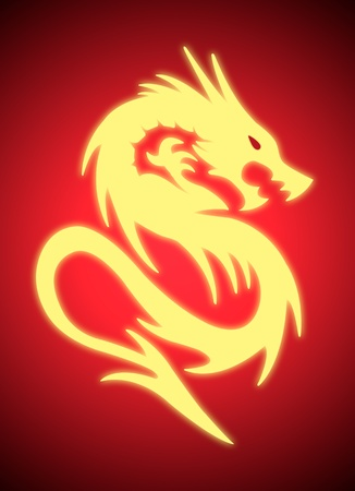 gold dragon with aura on red background photo