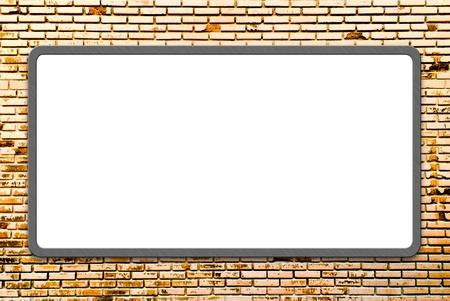 3d Blank advertising billboard on brick wall